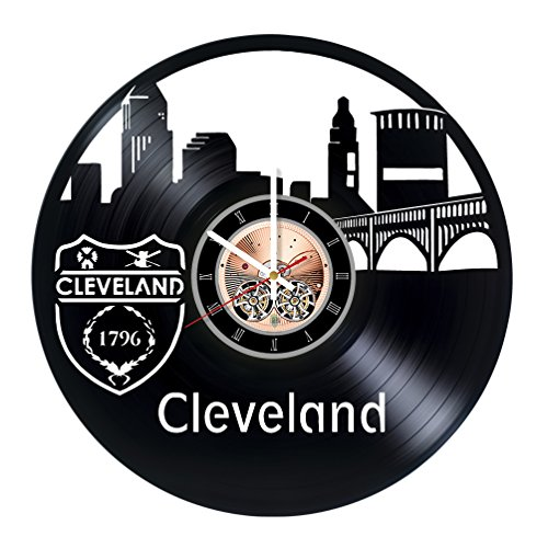 choma Cleveland Vinyl Record Wall Clock - Living Room wall decor - Gift ideas for friends, teens – City Unique Art -