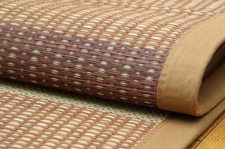 【モダンなお部屋にもよく合う幾何学デザイン】 日本製 い草 カーペット ブラウン (約191×250cm)