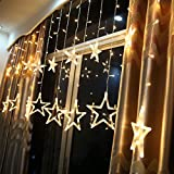 Christmas LED Star String Curtain Lights Fairy Hanging Lanterns Lamps Waterproof Xmas Home Party Decoration Warm White With 12 Stars 138 Bulbs LED
