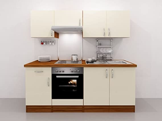 Küchenzeile 210 cm creme inkl herd dunstabzugshaube spüle amazon de küche haushalt