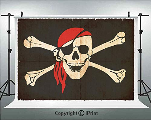 Pirate Photography Backdrops Flag of Tierra del Fuego Argentina in Grunge Antique Historical,Birthday Party Background Customized Microfiber Photo Studio Props,7x5ft,Army Green Beige Vermilion
