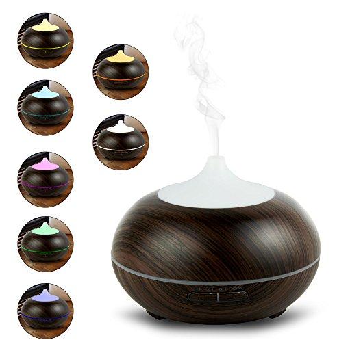 Aroma Diffuser mit 300 ml - Luftbefeuchter und Ultraschallvernebeler - Raumduft verbesserung für Wohnung, Büro, Yoga etc. Die Duftlampe für Aromatherapie und Luftbefeuchtung - My1StTM (300ml, Dunkles Holzdekor)