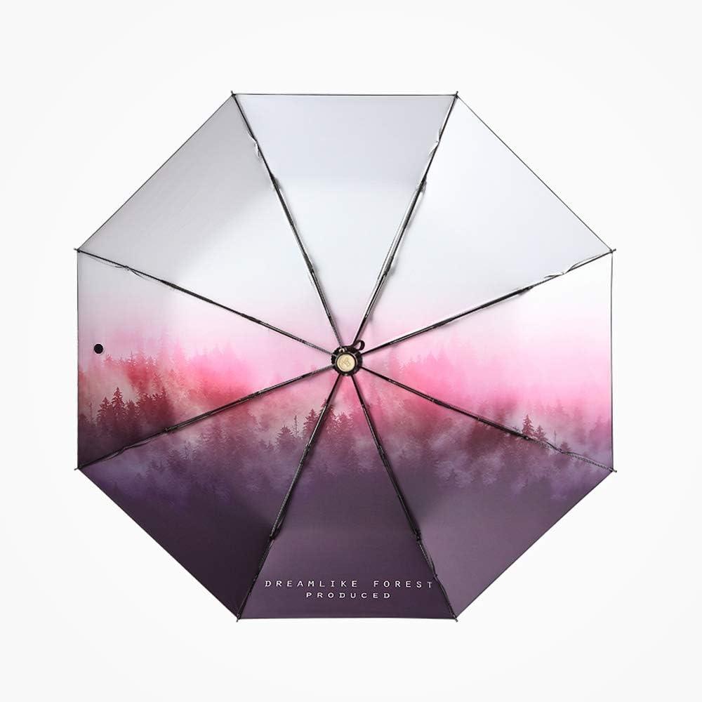 Color : Five fold Qeeuanl Dream Forest Folding Five-Folding Sun Umbrella Umbrella Sunshade Sun UV Dual Mini Umbrella