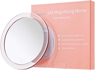 15X Magnifying Mirror (6 inches Round) - with 3 Mounting Suction Cups Used for Precise Makeup Application - Eyebrows/Tweezing - Blackhead/Blemish Removal - Bathroom/Travel Makeup Mirror (Rose Gold)
