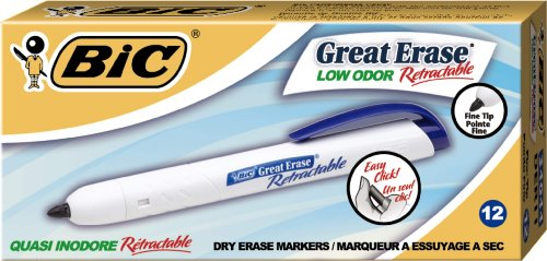 BIC Great Erase Retractable Fine Point Dry Erase, Blue, 12 Dry Erase Markers