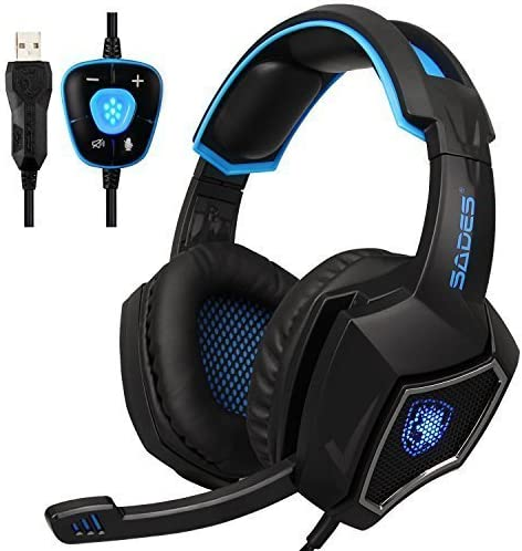 New Updated SADES Spirit Wolf 7.1 Surround Stereo Sound USB ComputerGaming Headset with Microphone,Over-The-Ear Noise Isolating,Breathing LED Light for PC Gamers Black Blue