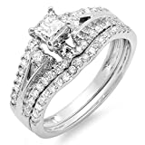 IGI CERTIFIED 1.15 Carat (ctw) 14K White Gold Princess & Round Diamond Ladies Ring Engagement Bridal Set