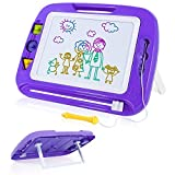 SGILE 16.3X12.8 Kids Magna Drawing Board Toy Foldable Stand Foothold 3 Stamps, Non-Toxic Magnetic Doodle Sketch Pad Painting Writing Toddlers Preschooler Learning Development, Purple