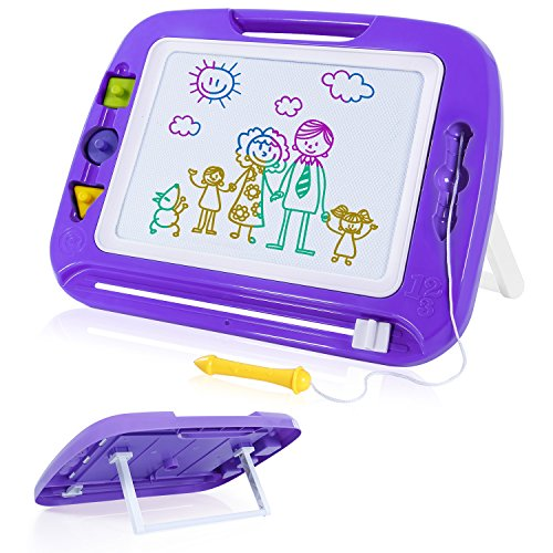 SGILE 16.3X12.8 Kids Magna Drawing Board Toy Foldable Stand Foothold 3 Stamps, Non-Toxic Magnetic Doodle Sketch Pad Painting Writing Toddlers Preschooler Learning Development, Purple by SGILE