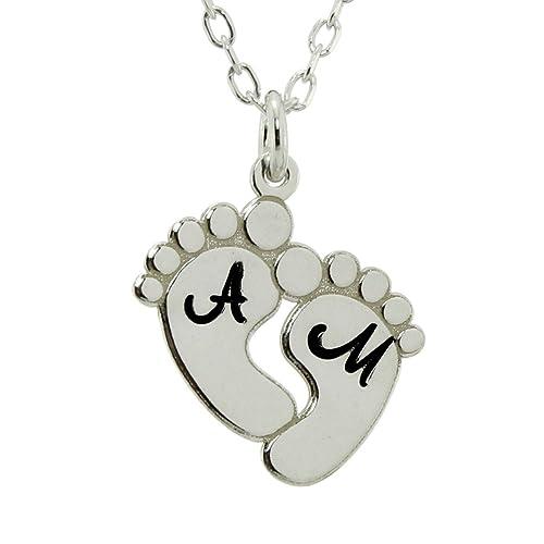 Amazon.com: Pies de bebé personalizada collar colgante de ...