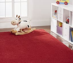 Nance Industries OurSpace Bright Area Rug, 6-Foot Round, Magna Red