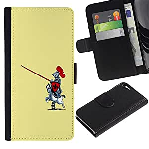 """Apple iPhone 5 / iPhone 5S , la tarjeta de Crédito Slots PU Funda de cuero Monedero caso cubierta de piel ("""" Knight Warrior Funny Caricature Rocking Horse"""")"""