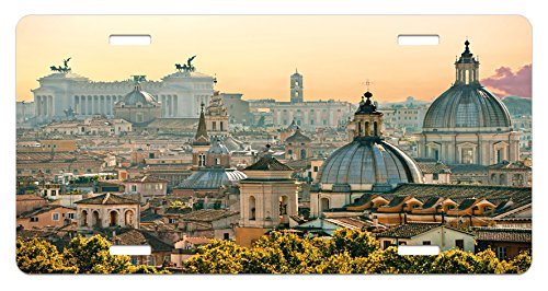 Ambesonne City License Plate, View of Rome from Castel Sant'Angelo Italy Historical Landmark Vatican, High Gloss Aluminum Novelty Plate, 5.88