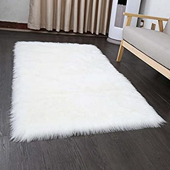 Amazon Com Pinkday Faux Sheepskin Area Rug Home Rugs