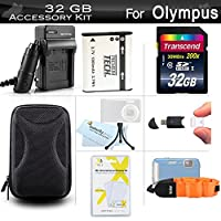 32GB Accessories Kit For Olympus Stylus Tough TG-820 iHS, TG-830 iHS, TG-630 iHS, TG-860, TG-870 Digital Camera 32GB High Speed SD Memory Card + Replacement LI-50B Battery + Charger + Case + More