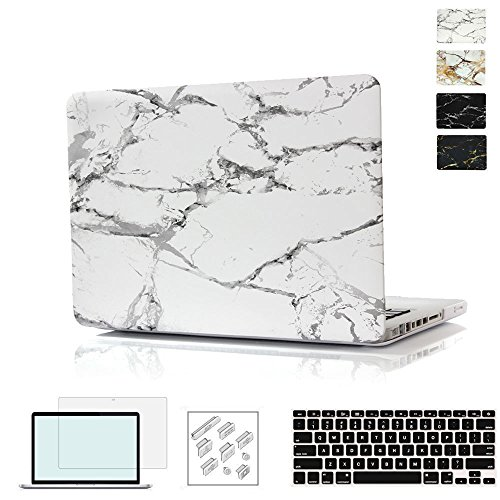 RYGOU Macbook Pro 15 Touch Bar Case Bundle,4 in 1 Marble Hard Case with Keyboard Cover Screenshell and anti-dust plug for 15inch Macbook Pro with Touch Bar Model A1707 (Released in 2016 2017)