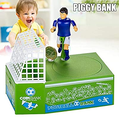 Novobey Novelty Soccer Shooting Coin Bank, Soccer Player Toy Coin Piggy Bank, Battery Powered Money Saving Box for Kids: Toys & Games