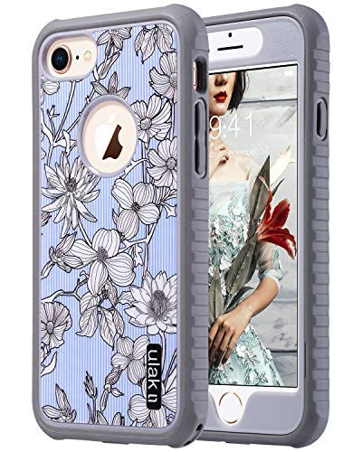 Protective Anti Cover Slip (ULAK iPhone 8 Case, iPhone 7 Case, Slim FIT Shock-Absorbing Flexible Durability TPU Bumper Case, Durable Anti-Slip, Front and Back Hard PC Defensive Protective Cover, Pinstripes & Flowers)