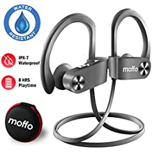 Moffo Wireless Headphones Sport HD Stereo in Ear Earbuds IPX7 Sweatproof Waterproof Headset with Built-in Mic for Gym Running Workout 8 Hours Battery (Gray)