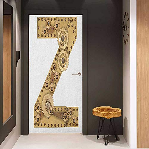 Onefzc Automatic Door Sticker Letter Z Mechanical Gears Capital Letter Z Fantastic Fictional Elements Industrialization Easy-to-Clean, Durable W17.1 x H78.7 Sand Brown