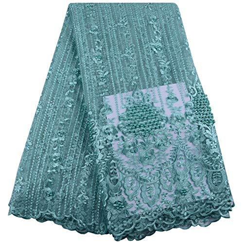 African Lace Fabric Sky Blue Lace Nigerian Lace Fabric 2019 Lace with Beaded 5 Yards,As Picture2