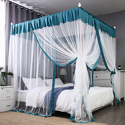 JQWUPUP Elegant Bed Canopy Curtains, Color Stitching Ruffle Princess 4 Corner Post Mosquito Net, Bed Canopy for Girls Adult Kids Toddlers Crib, Bedding Décor (Queen, Lake Blue) ()