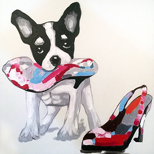 5f263d7daf3d 100% Hand-painted Original Oil Painting Animal Cute Smart Dog on ...