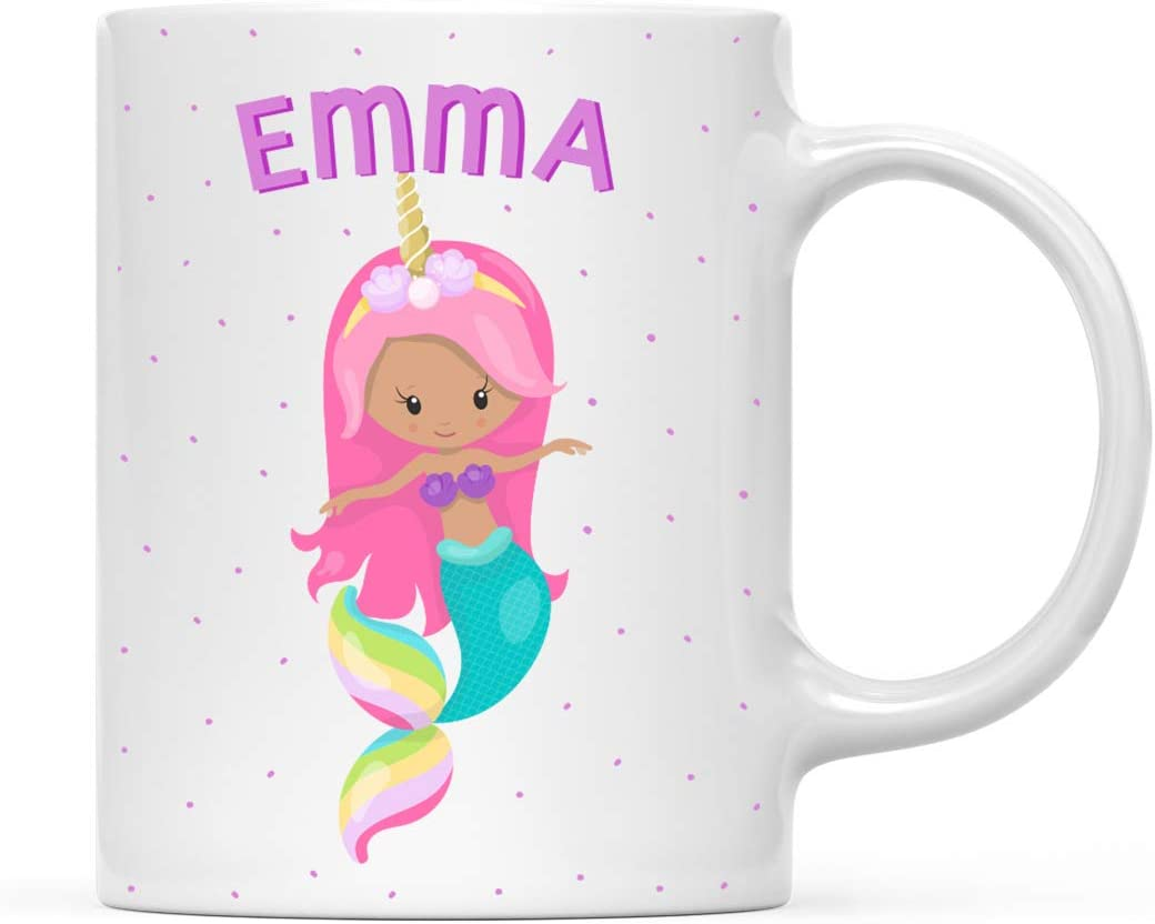 Andaz Press Personalized 11oz. Kids Milk Hot Chocolate Mug, Pink Haired Unicorn Mermaids, 1-Pack, Custom Child's Birthday Christmas Coffee Cup