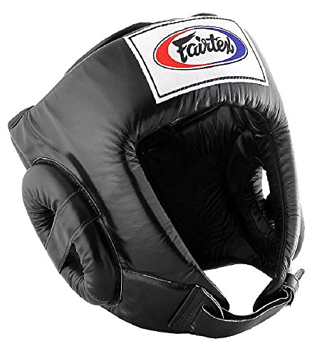 Fairtex HG1 Muay Thai Boxing Competition Headguard HeadGear Helmet (Black, Medium)
