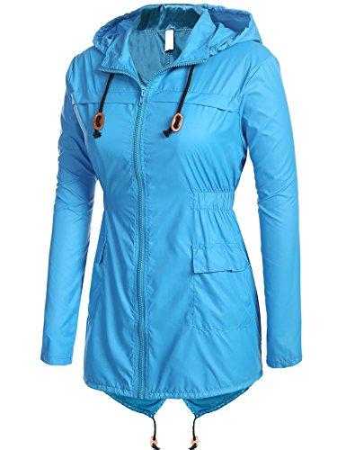 Meaneor Manteau Femme Pluie Capuche Impermable Vent Zipp Coupe Bleu Veste de qrqp7wxaC