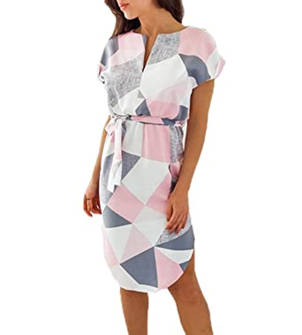 621e4f506576eb Ajpguot Sommerkleider Damen Kleider Kurzarm V-Ausschnitt Strandkleider  Blumen Knielang Kleid mit Gürtel Partykleider Abendkleid