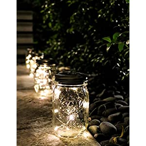 6 Pack -Solar Mason Jar Insert Lids - LED Mason Jar string light for Glass Mason Jars - Solar Pathway Garden Lights for all occasion parties