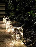 6 Pack -Solar Mason Jar Insert Lids - LED Mason Jar string light for Glass Mason Jars - Solar Pathway Garden Lights for all occasion parties -Jar Hangers Included Qty -6
