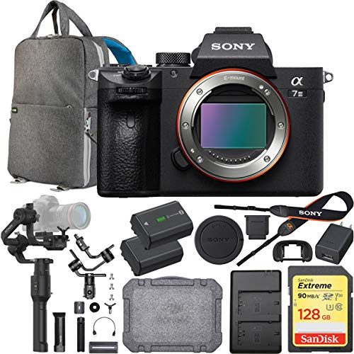 Sony a7III Full Frame Mirrorless Interchangeable Lens Camera Body Bundle with Ronin-S 3-Axis Advanced Gimbal Handheld Stabilizer Essentials Kit, 128GB Memory Card, Battery and Backpack and Charger