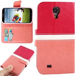 Generic 2-color Leather Flip Case Credit Card Slot Holder for Samsung Galaxy S4 / i9500 Pink + Red