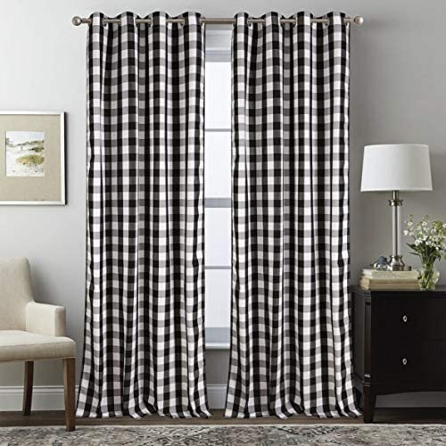 Annlaite Buffalo Checker Thermal Insulated Grommet Window Curtains 2 Panels Each 52 Inch