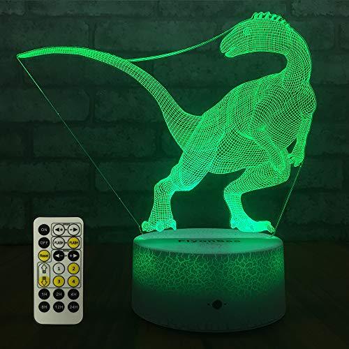 FlyonSea Dinosaur Light,Dinosaur Lamp,Dinosaur Night Light Kids 7 Colors Change Remote Control with Timer Optical Illusion Kids Lamp As a Gift Ideas for Boys or Girls (Dinosaur-1)