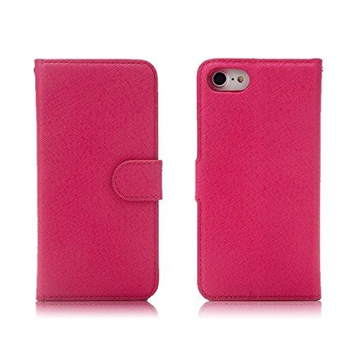 JIALUN-carcasa de telefono Funda de cuero de la caja de la PU de la caja de la bolsa con Kickstand & Lanyard y ranuras de tarjeta para el iPhone 7 ( Color : Black ) Rose