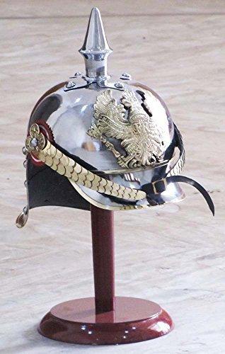German Prussian Steel & Brass Pickelhaube Helmet With FR Badge Military Officer Spike Helmet
