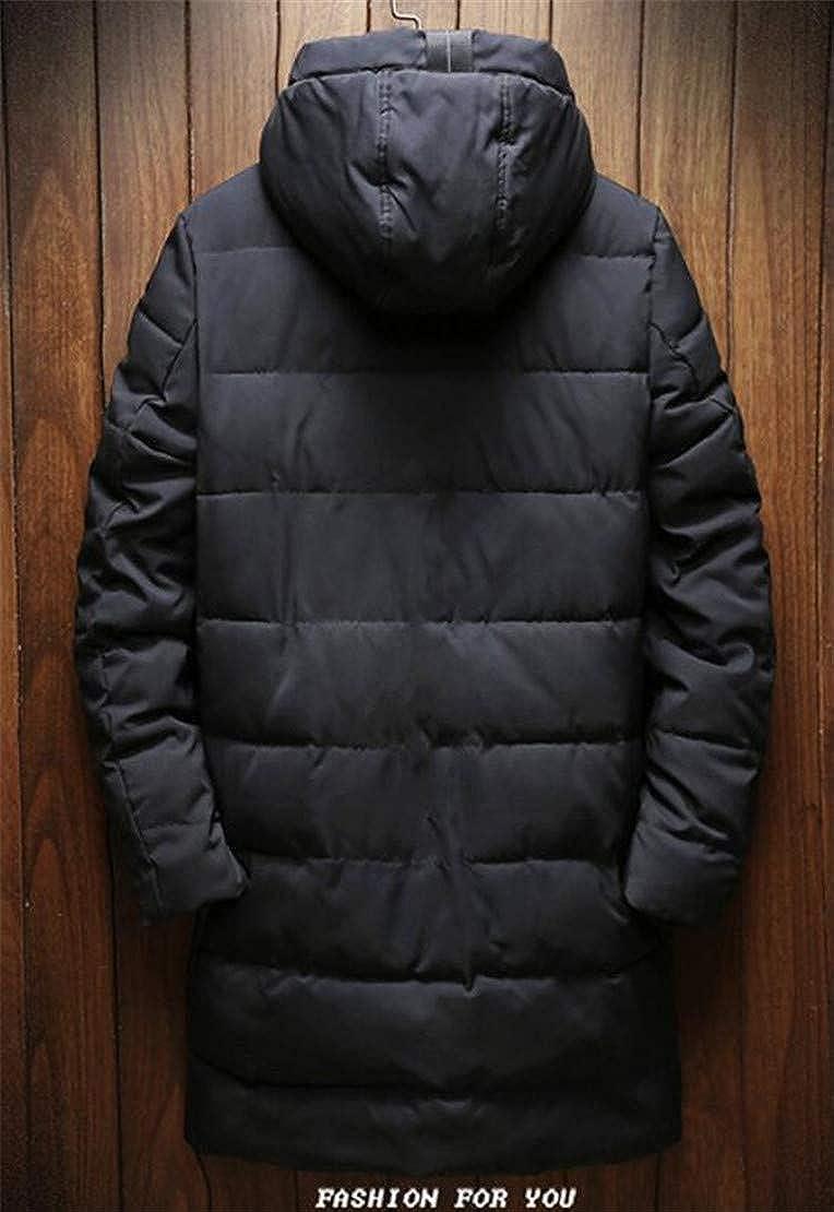 Zantt Men Thicken Classic Hooded Zipper Outdoor Quilted Long Down Jacket