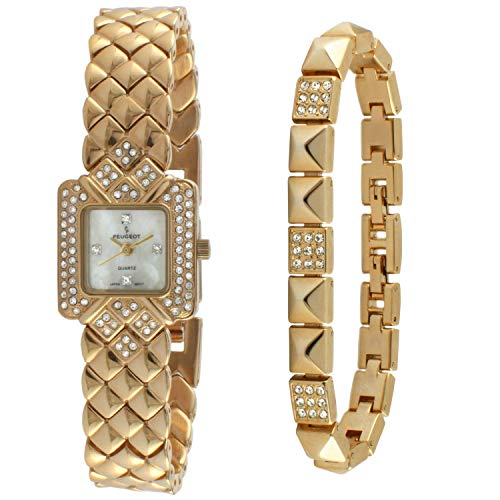 Peugeot 14Kt Gold Plated Panther Link Swarovski Crystal Watch with Matching Bracelet Gift Set ()