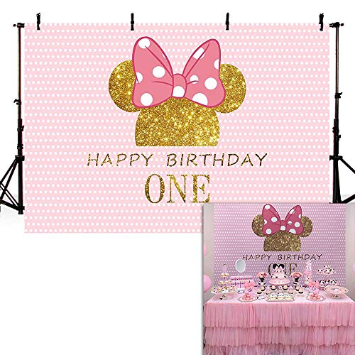 COMOPHOTO 1st Birthday Party Backdrop Photography 7x5ft Baby Cartoon Mouse Gold Pink Wave Point Decorations Photo Backdrop for Pictures]()