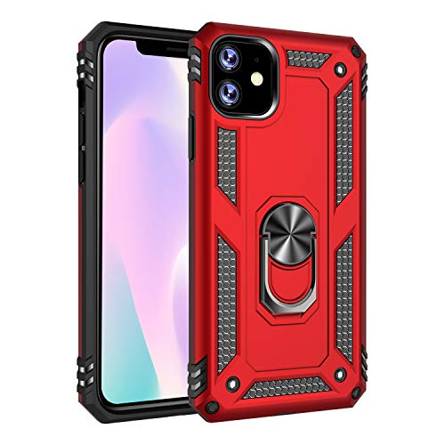 """iPhone 11 Case, Extreme Protection Military Armor Dual Layer Protective Cover with 360 Degree Unbreakable Swivel Ring Kickstand for iPhone 11 6.1"""" Red"""