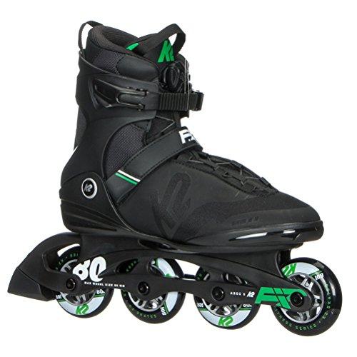 (K2 Skate Men's F.I.T. 80 Boa Inline Skate, Black Green, 11 )