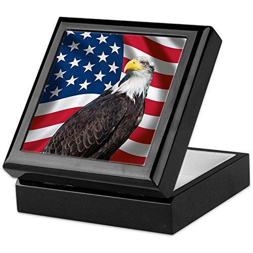 (CafePress - USA Flag with Bald Eagle - Keepsake Box, Finished Hardwood Jewelry Box, Velvet Lined Memento Box )