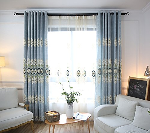 VOGOL YouYee Customized Simple Chenille Jacquard Blackout Window Elegance Curtains/drapes/panels/treatments for Bedroom Living Room,Top Grommets (2 Panels) (Curtain Chenille Fabric)