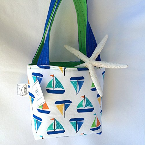 Quilted Tote Bag Purse Nautical Sailboat Fabric with Inside Pocket (A Sailboat Inside)