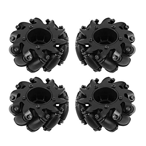 4 Pcs/Set Drive Wheel, Rubber Metal Left/Right Wheat Wheel Robot Kit Omnidirectional Wheels for RC Model Component Part - Components Wheel