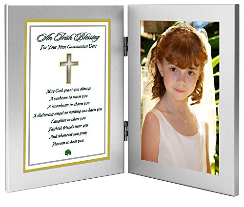 Poetry Gifts 1st Communion Gift - Irish Blessing in Double Frame For Girl or Boy - Add Photo -