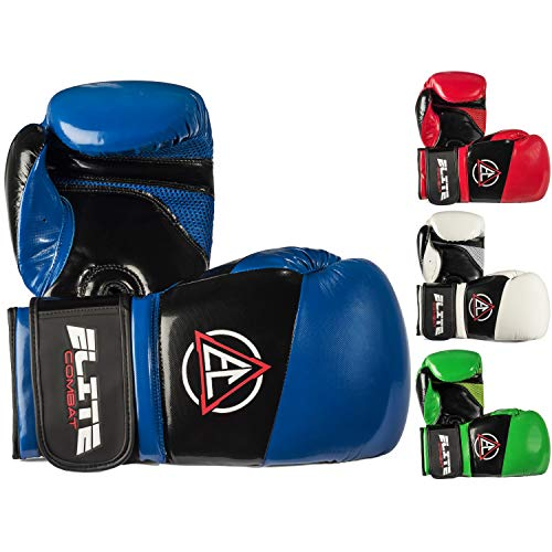 (Elite Combat Boxing Kickboxing Gloves (Pro Style) Adult and Youth Fight Gear | Sparring, Training, and Heavy Bag Use | Adjustable Hook and Loop Wrist | Strong PU Leather)